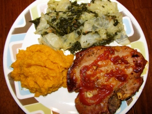 Pork Chop, Cabbage, Collards, Sweet Potatoes